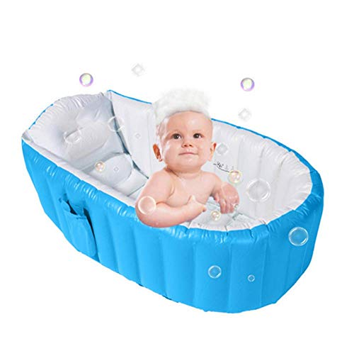 Alytimes Inflatable Baby Bathtub,No Pump Kid Infant Toddler Infant Newborn Inflatable Foldable Shower Pool (Blue) (Blue)