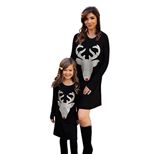 Longra Mama & Me Kinder Mädchen Damen schwarz Weihnachten Kleidung mit Hirsch Langarm Baumwolle Kleider Kleid Familie Freizeitkleidung Weihnachten Karneval Party Kleid (XL, Black)