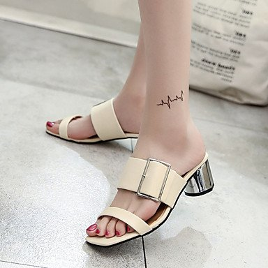 zhENfu Donna Sandali Comfort scarpe Club similpelle Primavera Estate Abbigliamento Sportivo fibbia Chunky Heel Nere Beige 2A-2 3/4in Beige