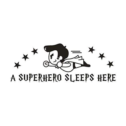 Olively Wandaufkleber für Kinderzimmer, Motiv A Superhero Sleeps Here (Transformatoren Superhelden Sind)
