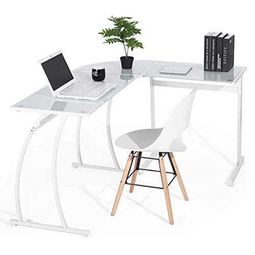 Bakaji scrivania angolare pc design moderno portacomputer ad angolo ufficio cameretta casa postazione lavoro superfice in vetro struttura in metallo (vetro bianco)