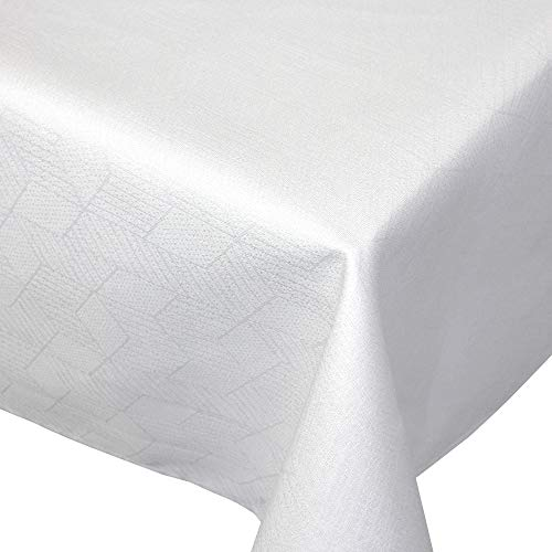 Nappe rectangle 150x200 cm Jacquard 100% coton CUBE blanc