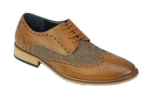 Xposed Herren Klassische Gatsby Stil Tweed Herringbone Formelle Brogue Schuhe Oxford Schnürschuhe [A2312H, 11,5 UK, Bräunen]