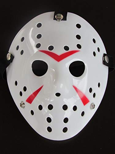 B-Creative Halloween Masken beängstigend Jason Voorhees Horror-Kostüm Blood Creepy Spooky Latex (weiß Jason Voorhees) (Jason Beängstigend Kostüm)