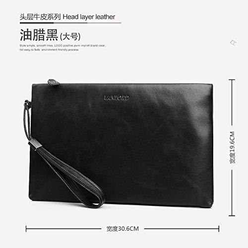 Handtasche, Leder, Tasche die große Kapazität Männer, business casual Umschlag Tasche, groß blau Big Paraffin black