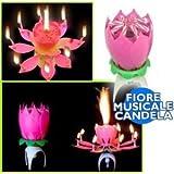153063 FIORE MUSICALE CANDELA COMPLEANNO MUSICA LUCE IDEA REGALO CANDELINE NEW