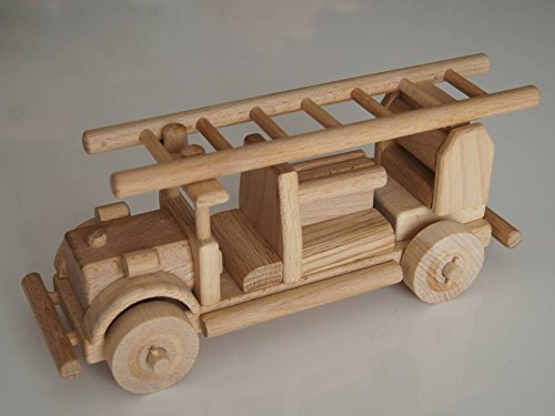 Superbe ancien camion de pompiers américain en bois des années 50/60 - jouet bois magnifique - Artisanat Véritable
