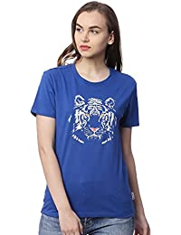 Wolfpack Tiger Royal Blue Round Neck Short Sleeve 100% Cotton Girls/Womens T-Shirt for Animal Lovers - Glow at Night