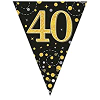 Hi Fashionz Black Gold Sparkling Fizz Birthday Party Holographic Bunting 11 Flags 3.9m 40th Ages
