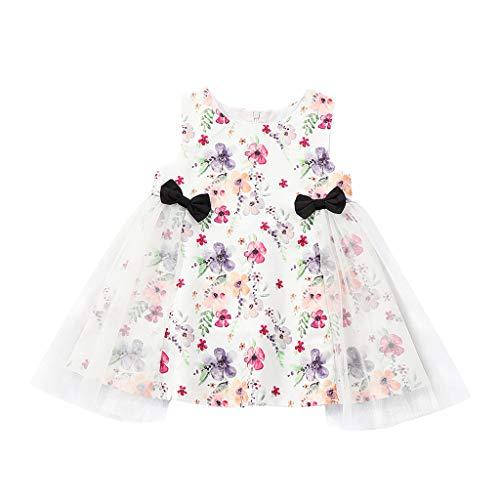 888065aeec3 UOMOGO Vestito Cotone Manica Corta Gonna con Stampa ad Arco Abito  Principessa Casual Vestiti Bambina Floreale