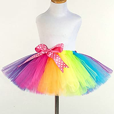Fenical Kids Rainbow Tutu Skirt Girls Dance Ballet Party Dress for Carnival Party Dancing Performance (Multicolor) by FENICAL