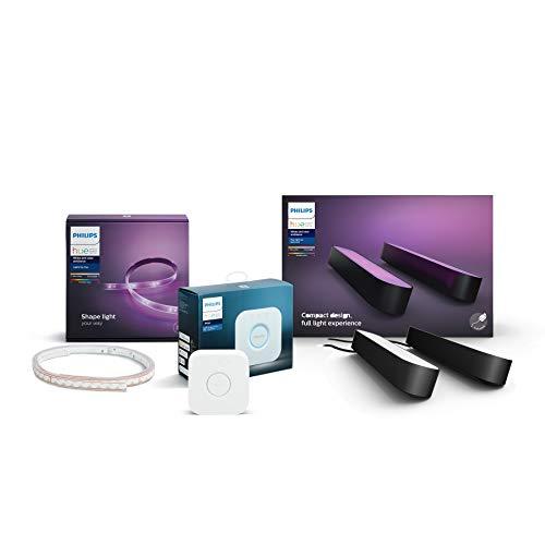 Philips Hue Gaming Starter-Set (1x Philips Hue Play Lightbar Doppelpack schwarz, 1x Philips Hue Bridge, 1x Philips Hue LightStrip+ 2m)