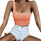 Feytuo Frauen Damen Einzel Schulter Crop Top Sexy Sport-BH Slim Camis Tank Weste