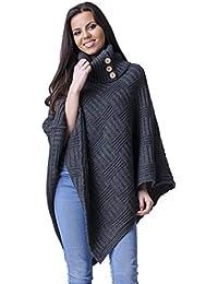 Chelsea Clark Mujer Tejido Punto Texturado Suéter Poncho Tipo con Cuello 911z