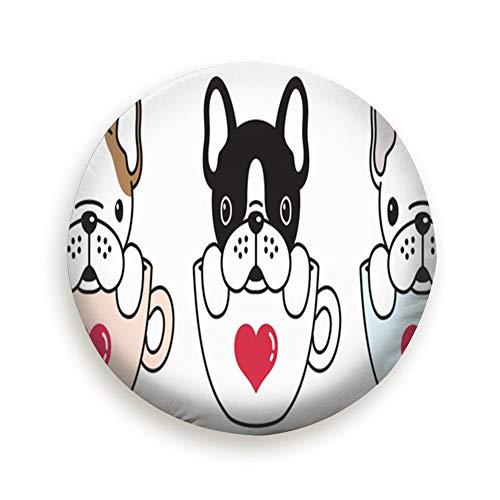 Hund Französisch Bulldog Mops Tiere Kaffee Reifen Abdeckung Polyester Universal Reserverad Reifen Abdeckung Radabdeckungen Für Anhänger RV SUV Lkw Camper Wohnwagen Zubehör (14,15,16,17 Zoll) 14 Zoll -