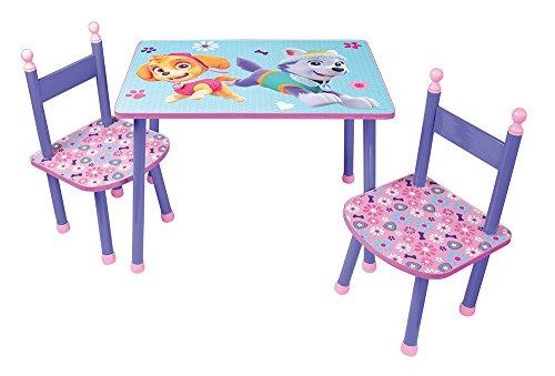 FUN HOUSE 712744 PAT'PATROUILLE Fille Table avec 2 Chaises pour Enfant, MDF/Métal, 60 x 40 x 44 cm