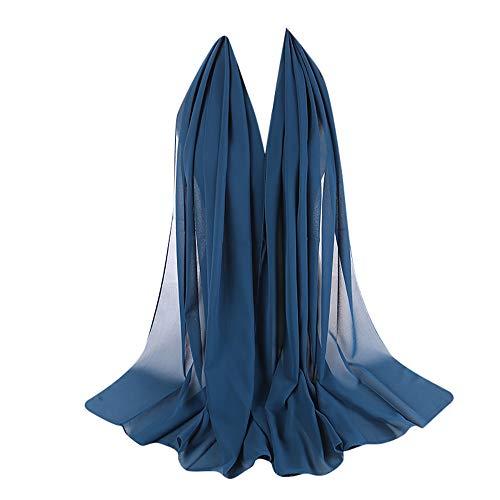 Xmiral Damen Plain Bubble Elegant Chiffon Schal Schals Stirnband Muslim Hijab Abendkleid Braut Hochzeit(SB) - Asus Sb