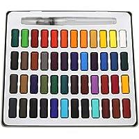 Paintersisters Pinturas Acuarela, buzón de Colores con 48Tonos y Pincel Tanque de Agua en la Caja de Metal, Set de Colores Agua con 48Pastillas.