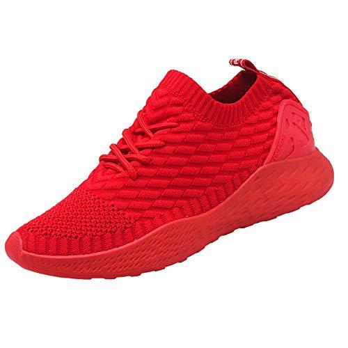 Sneakers Uomo Sportive Calze Scarpe da Corsa Slip on Walking Calzature da Ginnastica Low Top Formatori Passeggio Maglia Atletiche Comode Rosso 41