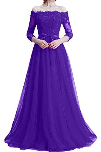 ivyd ressing Zaertlich 3/4giromanica scollo a U da donna pizzo & Tuell Party Festa Prom abito abito sera vestito Violett