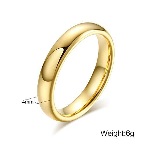 YZHDDJ Wolframkarbid Trauringe Für Paar Solid Gold-Farbe Liebhaber Engagement Anel Schmuck 6