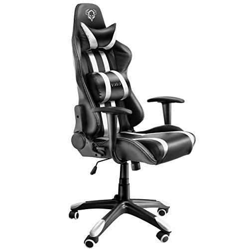 Diablo X-One Gaming Silla de Oficina Diseño Ergonomico Mecanismo de Inclinación Cojin Lumbar y Almohada Cuero Sintético (Negro-Blanco)