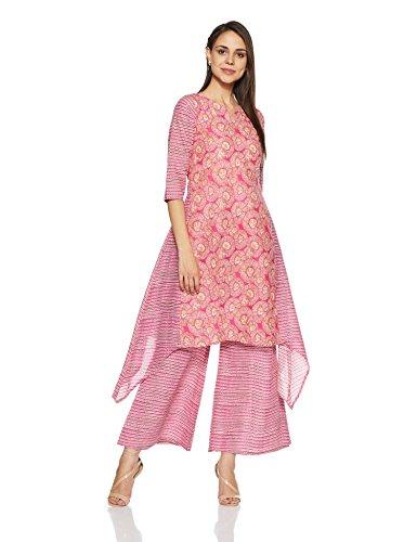 Gerua Women's A Line Salwar Suit Set (GS117XL_Pink)