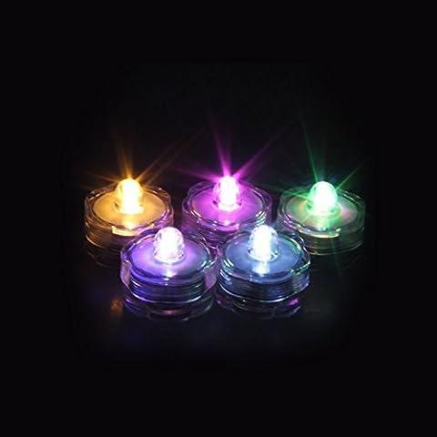 hommii Kit de 24 LED tauchwasserdicht Bougies chauffe-plat bougie lumière forme de fleur Changement de couleur batterie Sous l'eau sans flammes Décoration pour fontaine jardin fête party RGB Color Change