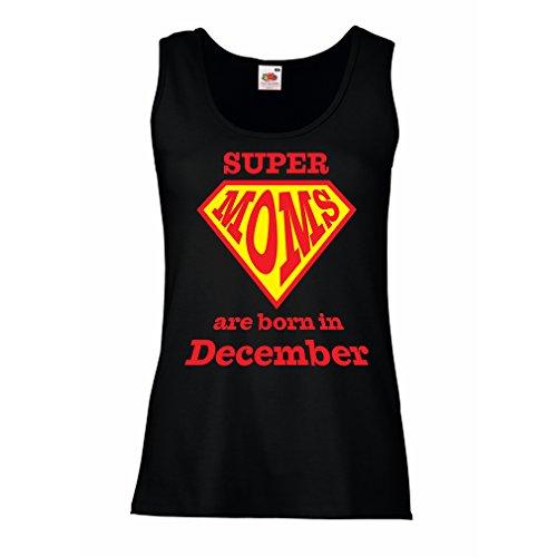 lepni.me Damen Tank-Top Super Moms sind im Dezember geboren - Geburtstagsgeschenke für Mama (Large Schwarz Mehrfarben) (Braut Fitted Tank-top)