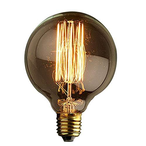 KJLARS Vintage Edison Bombilla E27 60W G95 de Alambre recto Edison creativa bar retro lámpara decorativa