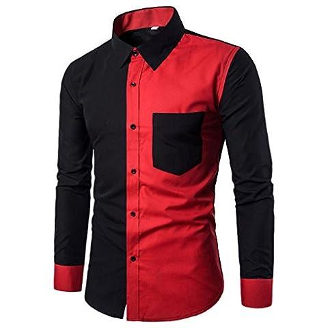 FNKDOR Herren Freizeit Business Langarm Modern Slim Fit Shirt Hemd (52, Schwarz)