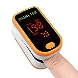 KJHG Pulsossimetro da Dito Ossimetro Professionale Monitor per Dita con Battito Cardiaco per misurazioni della frequenza cardiaca (PR) e della saturazione di Ossigeno (Spo2),Orange