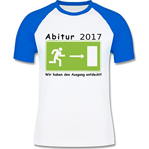 Abi & Abschluss - Abitur 2017 - Wir haben den Ausgang entdeckt - zweifarbiges Baseballshirt für Männer Weiß/Royalblau