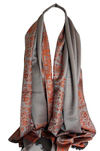 Qualité deux faces impression libre en relief Pashmina sensation Wrap écharpe étole châle Orange et Gris Floral