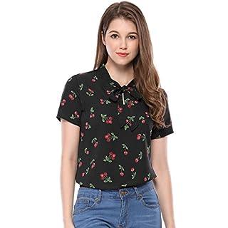 Allegra K Damen Sommer Halbarm Bowknot Kragen Cherry Top Bluse, XL (EU 48)/Schwarz