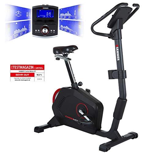 HAMMER Ergometer Cardio Motion BT, leises Fitnessfahrrad mit tiefem Einstieg & Comfort-Sattel, geeignet als Heimtrainer für Senioren, Bluetooth & App-Steuerung, Tablethalterung, 110 x 52 x 140 cm