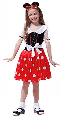 Größe XL - 7-8 Jahre - Kostüm - Verkleidung - Karneval - Halloween - Maus- Rot - Kleines Mädchen - Minnie Maus