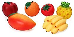 Fruit Family PVC Squeezy Fruits - 6 Pieces