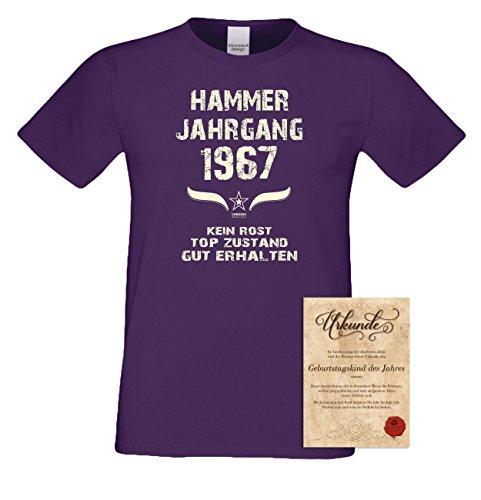 Geschenk-Set zum 50. Geburtstag : Hammer Jahrgang 1967 : Fun T-Shirt & Urkunde als Geburtstagsgeschenk Geschenkidee Geschenk für Männer : Farbe: lila Lila