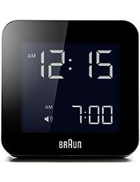 Réveil numérique Braun avec fonction snooze, écran LCD négatif, réglage rapide, bip d'alarme, en noir, modèle BNC009BK.