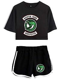 690d7cd22c1a36 Memoryee Riverdale Maglietta Crop Top Maglietta e Shorts Abbigliamento  Abbigliamento da Due Pezzi per Abbigliamento Sportivo da Donna e da…