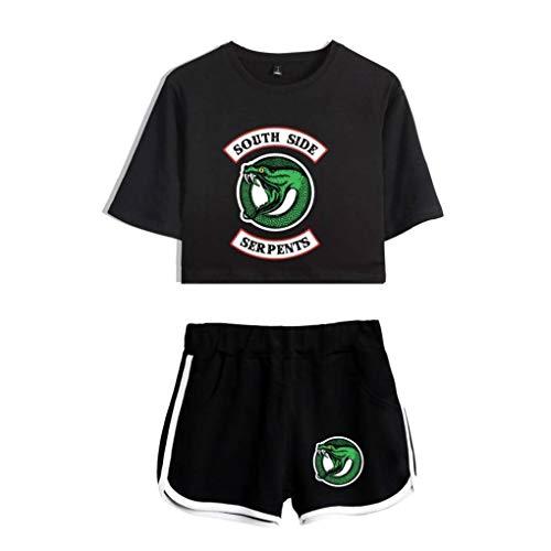 Memoryee Druck Crop Top T-Shirts und Shorts Kleidung Zweiteiler für Mädchen und Frauen Sportbekleidung Suit 2 S