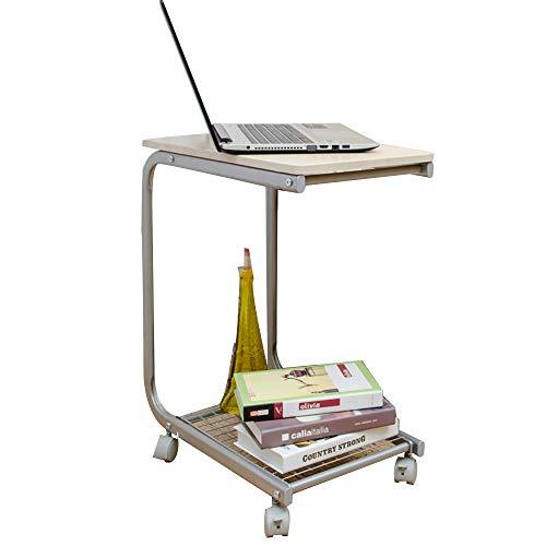 Schreibtische HAIZHEN U-förmigen Beistelltisch Portable Snack Cart Tray Computer Stehpult mit Rädern 3 Farben Klapptisch (Farbe : Holz) - , U-förmigen Schreibtisch