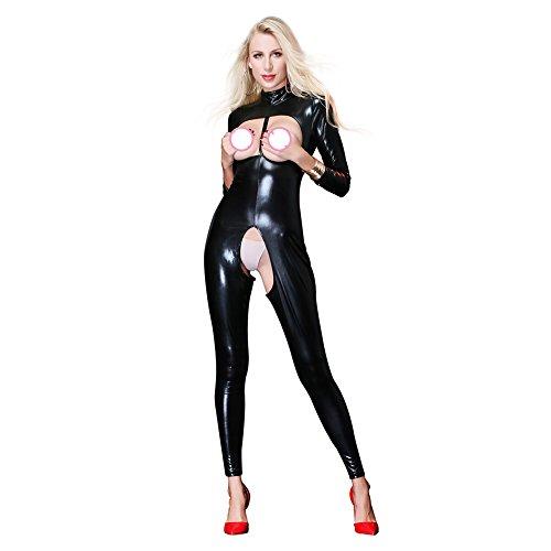 Catsuit Leder Open Büste Ouvert Für Frauen Wetlook Jumpsuit Bodysuit Clubwear,M