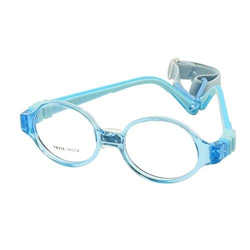 EnzoDate Jungen Mädchen Brille Größe 39 mit Nase Pad Strap Keine Schraube Flexible Silikon Biegsamen Optischen Rahmen Kinder Kinder Brillen (blau)