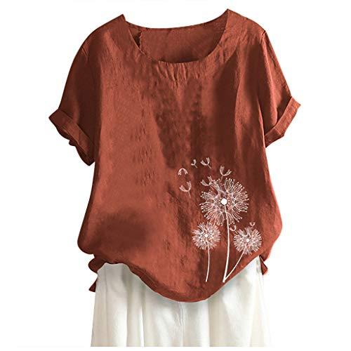 Camisa De Lino Camiseta Manga Corta Mujer Mangas Cinco Puntos Camisetas De Manga Corta, Tops Cuello Redondo con Blusa Suelta Larga Cuello Estampado