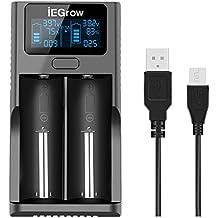 iEGrow cargador de bateria LCD para 18650, 26650, 18500, 18350, 17670, 17500, 16340, 14500, 10440 de bateria Li-ion 3.7v