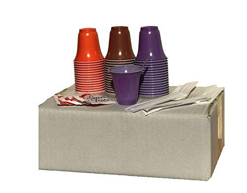 Kit Accessori Caffè Colorato con 150 Bustine di Zucchero, 150 Bicchierini Coloratie 150 Palettine