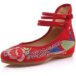 Minetom Vintage Estilo Chino Pintura de Tinta de Plataforma Mary Jane Merceditas de Mujer Flores Bordado Cómodo Casual Zapatos de Party Dress Rojo EU 38