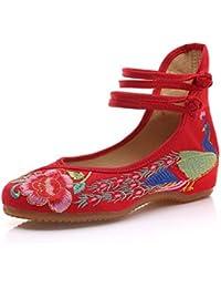 Minetom Vintage Estilo Chino Pintura de Tinta de Plataforma Mary Jane Merceditas de Mujer Flores Bordado Cómodo Casual Zapatos de Party Dress